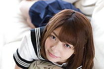 Pretty kogal Mari Rika stripping white panties on couch