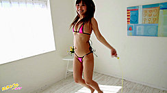 Japanese Teen Mikuru Skipping Wearing Pink Bikini Long Hair