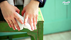 Hands Reaching Down To Her Feet White Socks