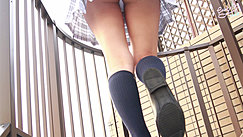 Kogal Walking Up Steps Upskirt View