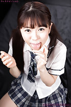 Araki Mai licking cum from her fingers wearing uniform cum over her pigtails