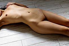 Ai Mizushima On Her Back On Wood Floor Small Breasts Shaved Pussy With Pussy Cleft