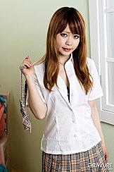 Mami Niikura Wearing Uniform White Shirt In Plaid Skirt
