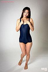 Wearing Swimsuit Long Hair Hands Raised Her Feet Bare