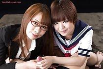 Tutor Kai Miharu teaches student Imai Meril to give handjob