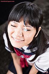 Kogal Mamiya Tsukushi Smiling In Uniform Eyes Closed Cum Over Her Face