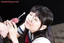 Cutie Mamiya Tsukushi giving handjob and taking facial cumshot