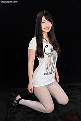 Kneeling Long Hair Wearing Tshirt In Pantyhose High Heels