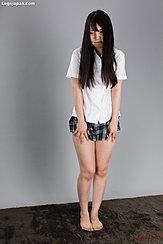 Standing Barefoot In Students Uniform Short Skirt Long Hair