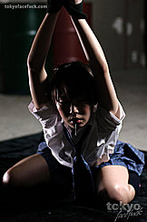 Hands Bound Above Her Head Leaning Forward Saliva Running From Her Mouth Wearing School Uniform On Her Knees