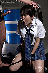 Choking On Cock Student Mizushima Ai On Her Knees Hands Tied Plaid School Skirt