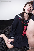 On her knees in uniform cock against her open mouth