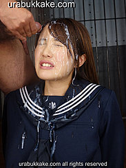 Eyes Closed Streaks Of Bukkake Cumshots In Her Hair And Over Her Face Cum On Her Seifuku Uniform