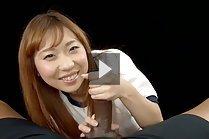 Gym class student Yamamoto Misaki on her knees giving handjob